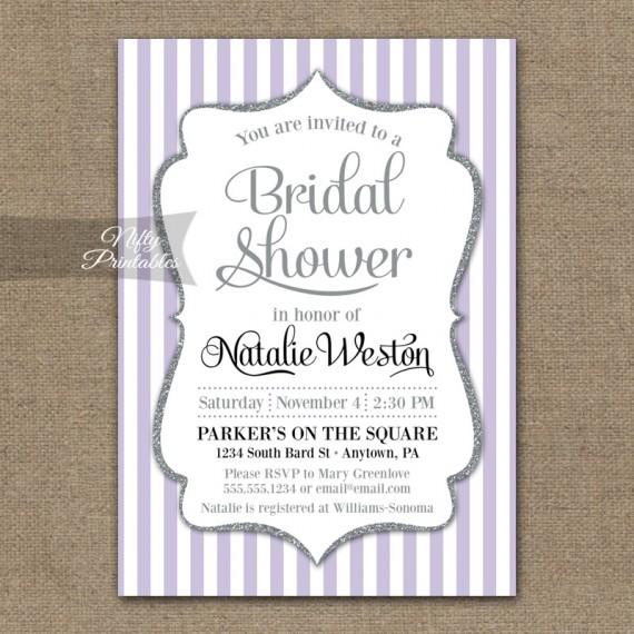 Lilac Bridal Shower Invitations - Lavender Silver