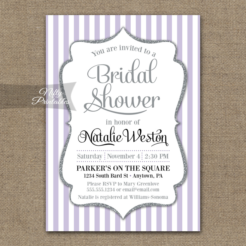 Lilac Bridal Shower Invitations - Lavender Silver