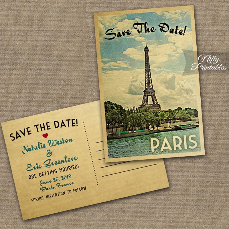 Paris France Save The Date Postcards VTW