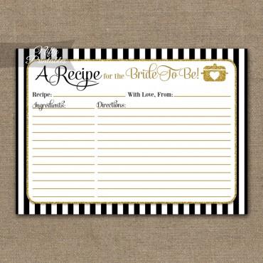 Bridal Shower Recipe Cards - Black Gold