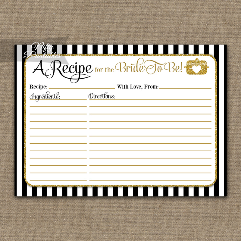 Bridal Shower Recipe Cards - Black Gold