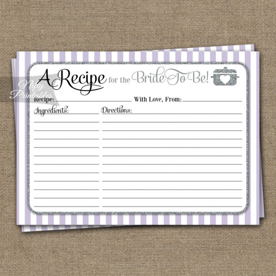 Bridal Shower Recipe Cards - Lilac Silver