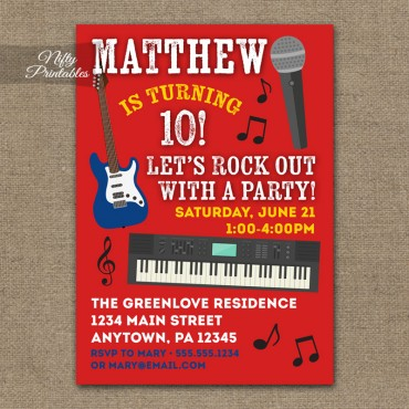 Rock Star Birthday Invitations - Karaoke Party