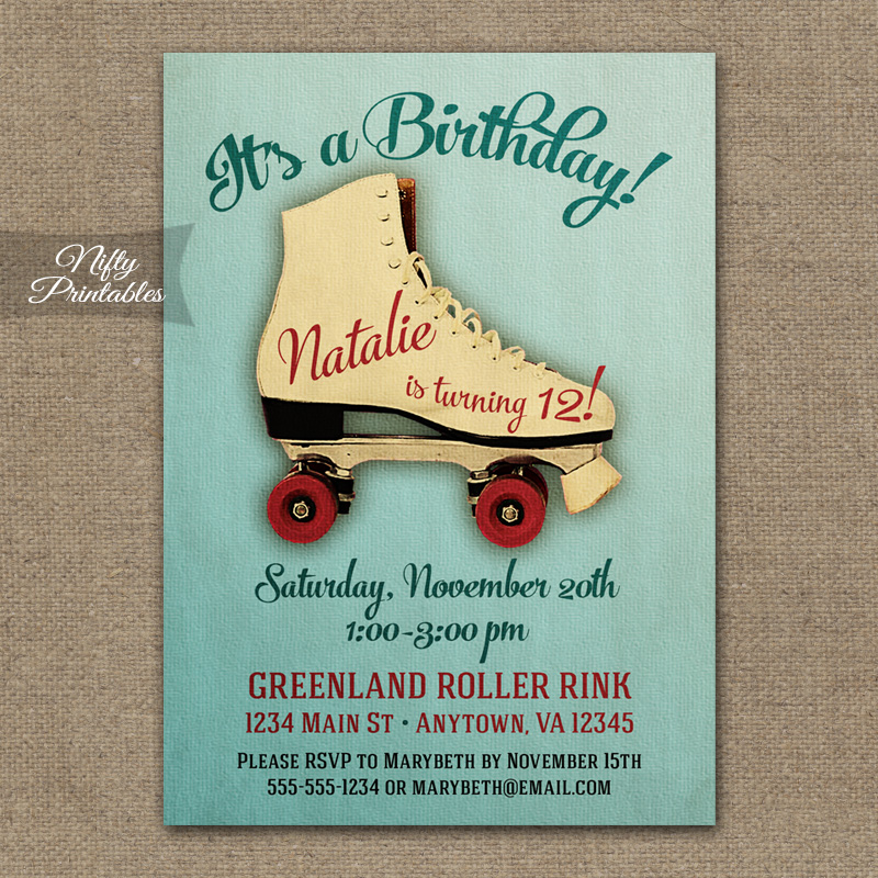 Roller Skating Birthday Invitations Nifty Printables – Roller Skate Birthday Invitations
