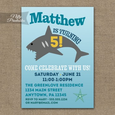 Shark Birthday Invitations