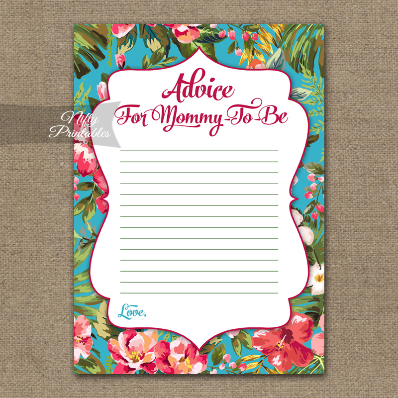 Advice For Mommy Baby Shower Game - Tropical Flowers