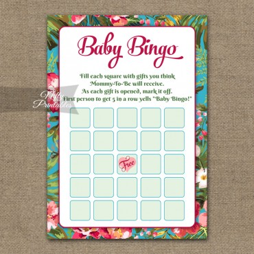 Baby Shower Bingo Game - Tropical Flowers