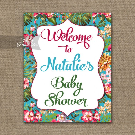 Tropical Baby Shower Welcome Sign