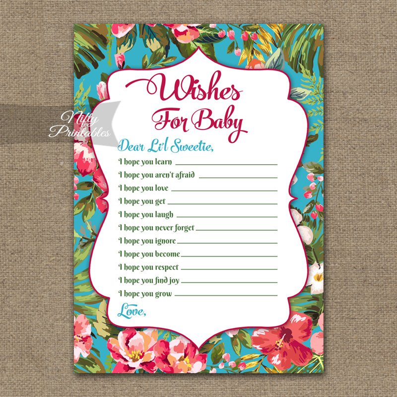 Wishes For Baby Shower Game - Tropical Flowers
