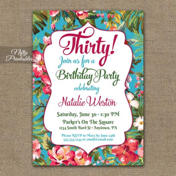 Tropical Birthday Invitations - Hawaiian Luau