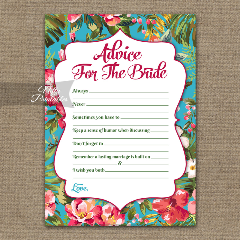 Bridal Shower Advice Cards - Tropical Flowers