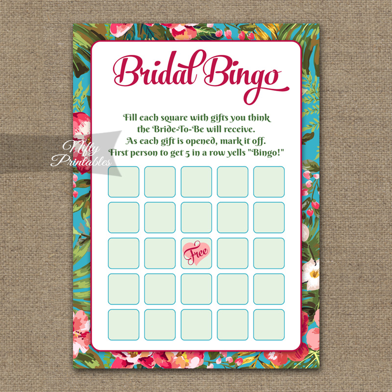 Bridal Shower Bingo Game - Tropical Flowers