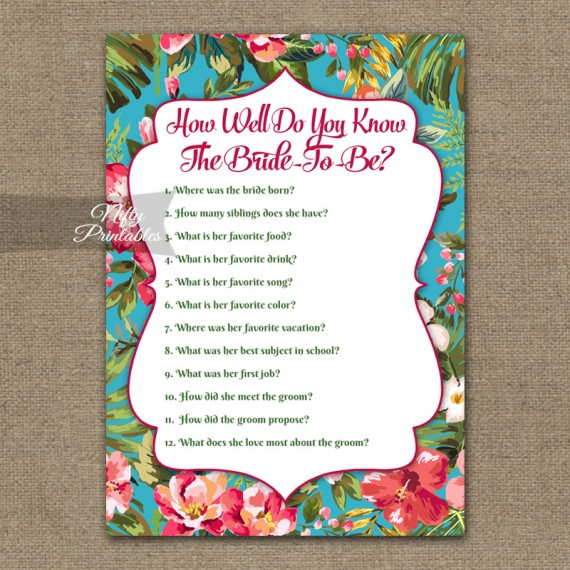 How Well Do You Know The Bride Shower Game - Tropical Flowers