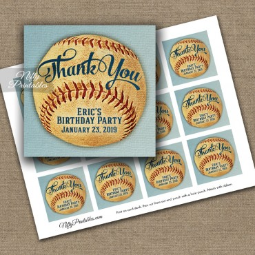 Baseball Thank You Favor Tags - Vintage Sports