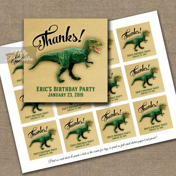 Dinosaur Thank You Favor Tags