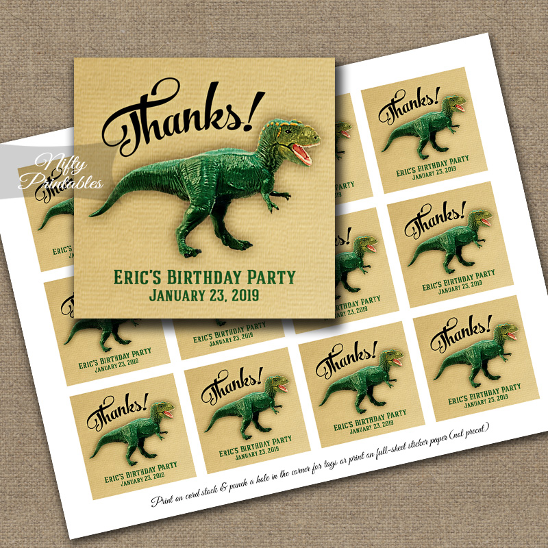 Dinosaur Thank You Favor Tags
