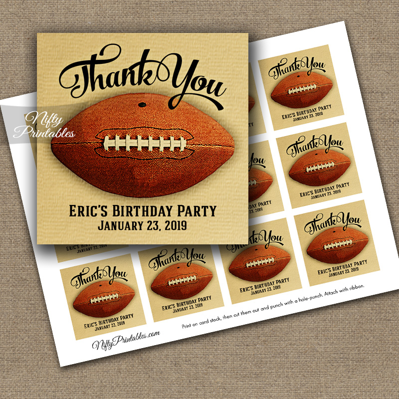 Football Thank You Favor Tags - Vintage Sports