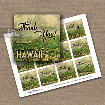 Hawaii Thank You Favor Tags - Vintage Hawaiian