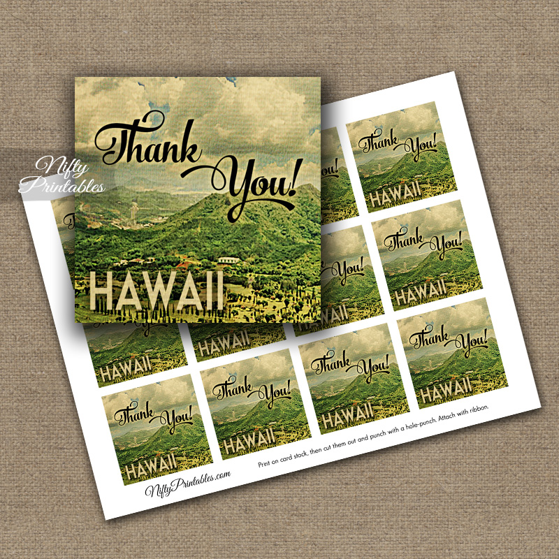 Hawaii Thank You Favor Tags - Vintage Hawaiian