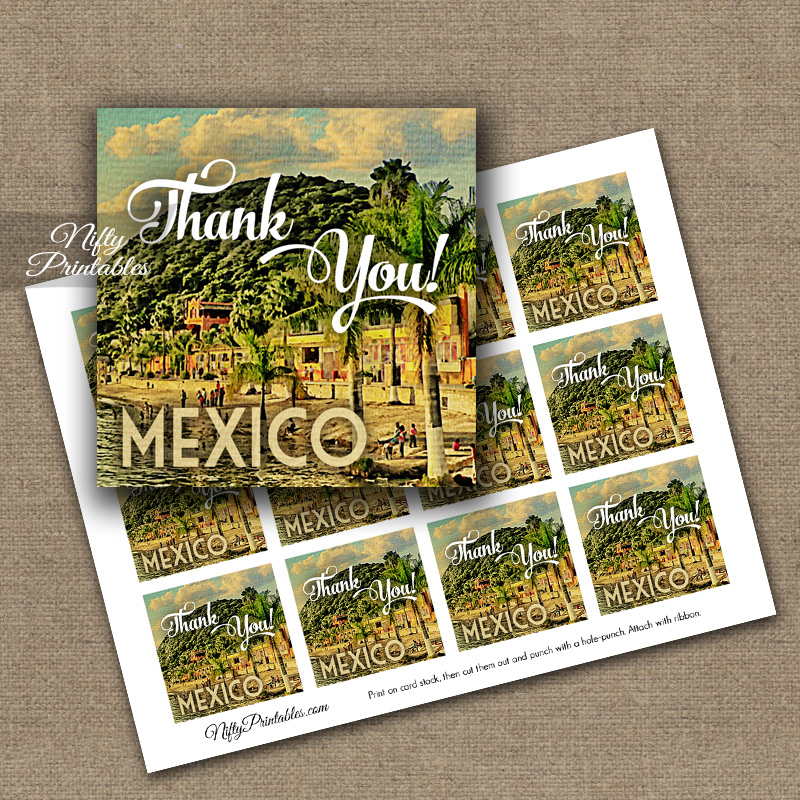 Mexico Thank You Favor Tags - Mexican Party