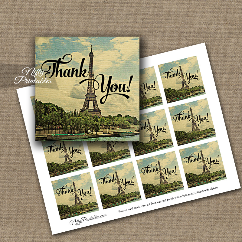 Paris Thank You Favor Tags - Eiffel Tower France