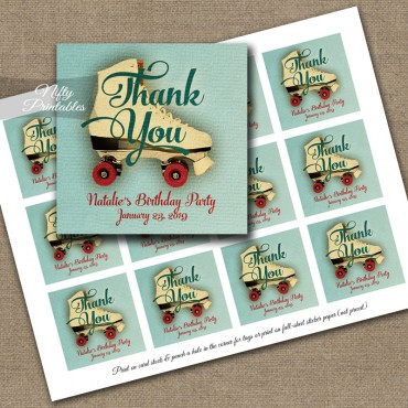 Roller Skating Thank You Favor Tags - Vintage Sports