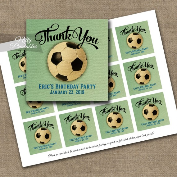 Soccer Thank You Favor Tags - Vintage Sports