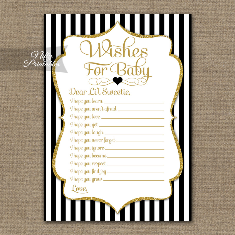 Wishes For Baby Shower Game - Black Gold