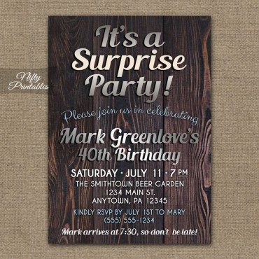 Wood Silver Surprise Party Invitations