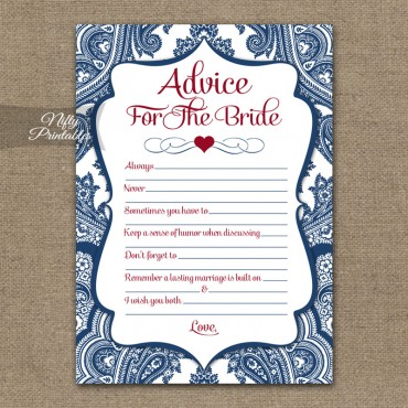 Bridal Shower Advice Cards - Navy Blue Damask