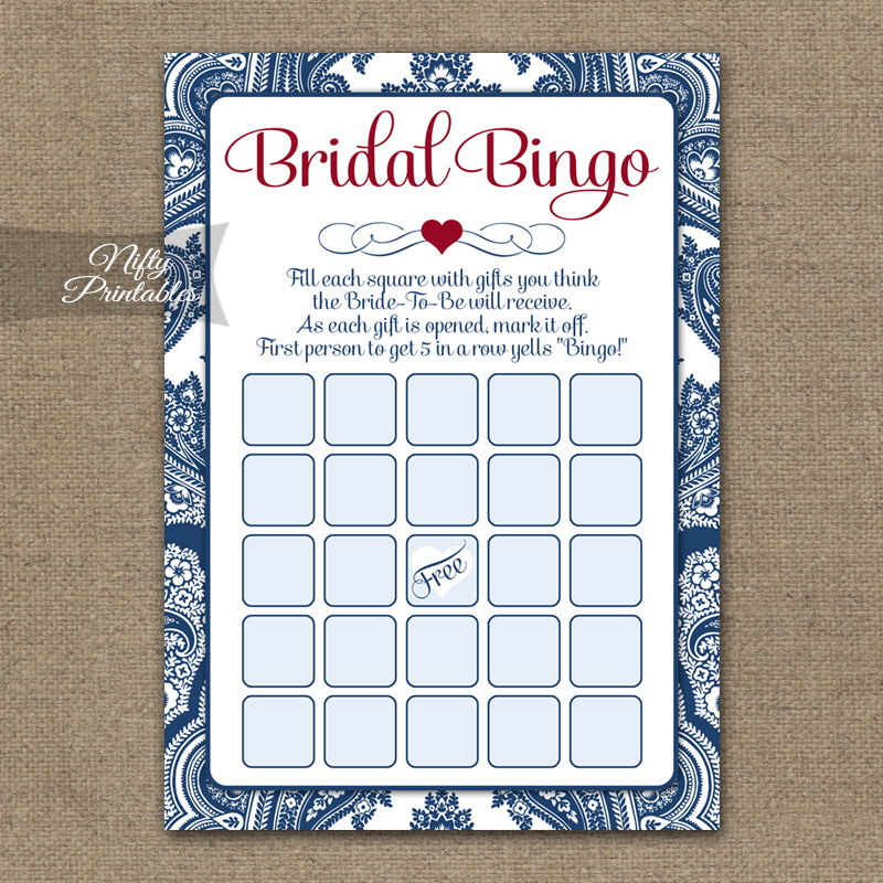 Bridal Shower Bingo Game - Navy Blue Damask