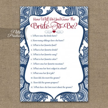 How Well Do You Know The Bride Shower Game - Navy Blue Damask