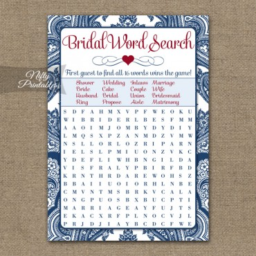 Bridal Shower Word Search Game - Navy Blue Damask