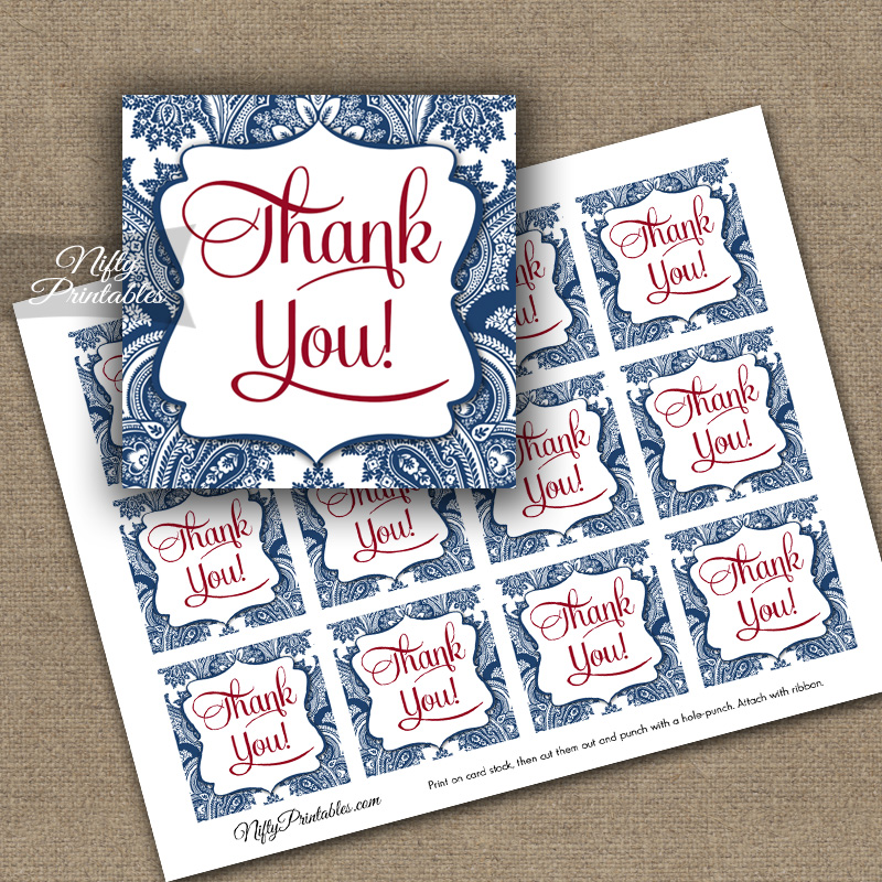 Navy Blue Damask Thank You Favor Tags SQ