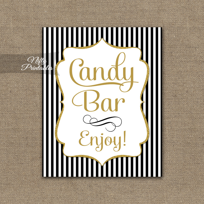 Candy Buffet Sign - Black Gold Stripe