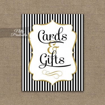 Cards & Gifts Sign - Black Gold Stripe