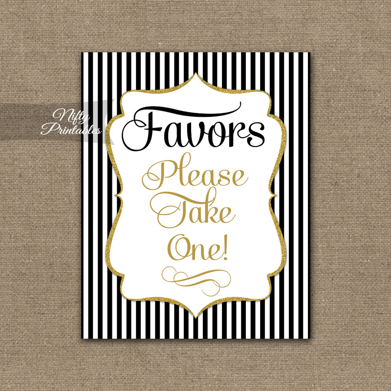 Favors Sign - Black Gold Stripe
