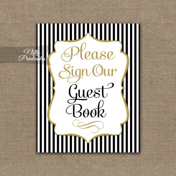 Guest Book Sign - Black Gold Stripe