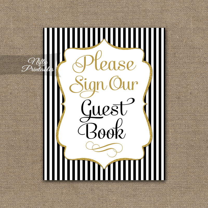 Guest Book Sign - Black Gold Stripe