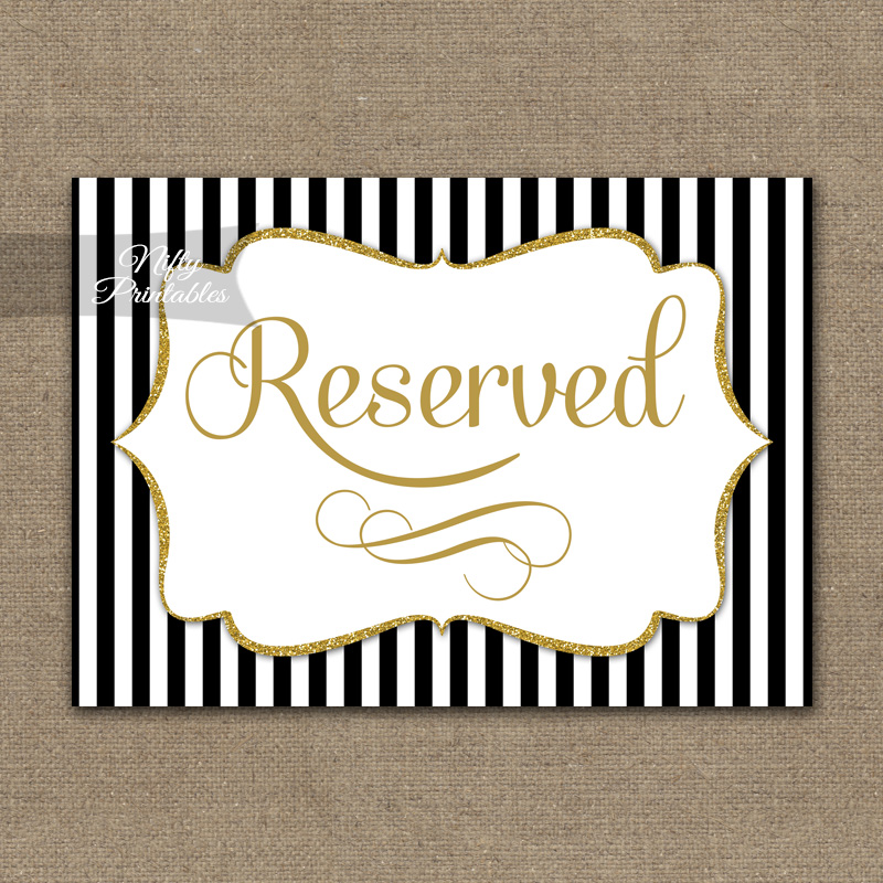 Reserved Sign - Black Gold Stripe