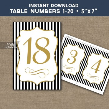 Table Numbers - Black Gold Stripe