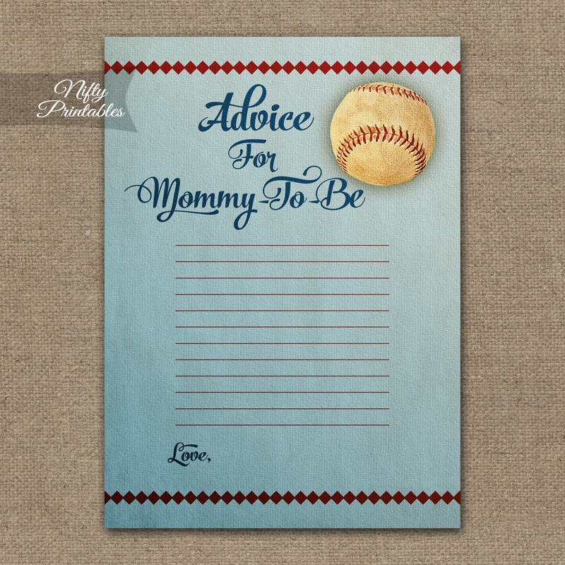 Advice For Mommy Baby Shower Game - Baseball