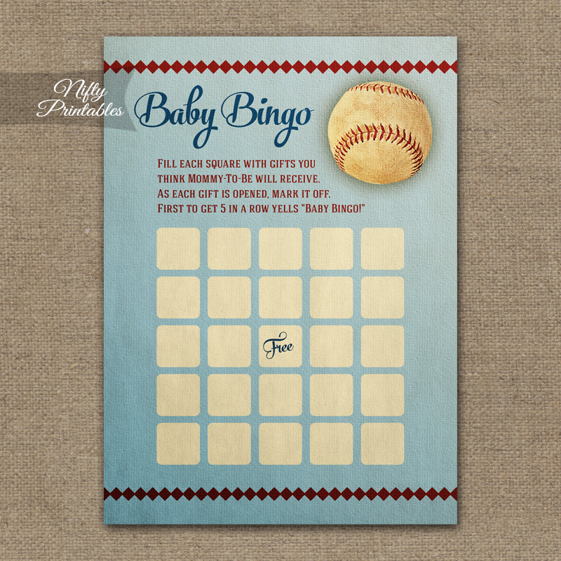 Baby Shower Bingo Game - Baseball