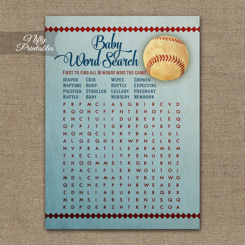 Baby Shower Word Search Game - Baseball