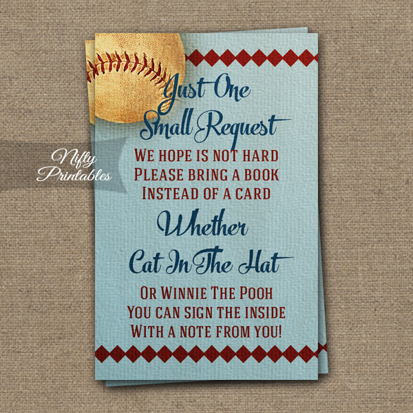 Bring A Book Baby Shower Insert - Baseball