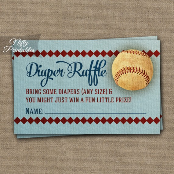 Diaper Raffle Baby Shower - Baseball
