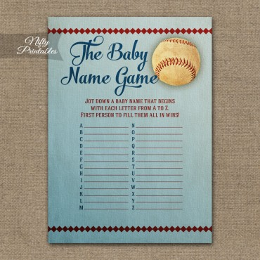 Name Game Baby Shower - Baseball