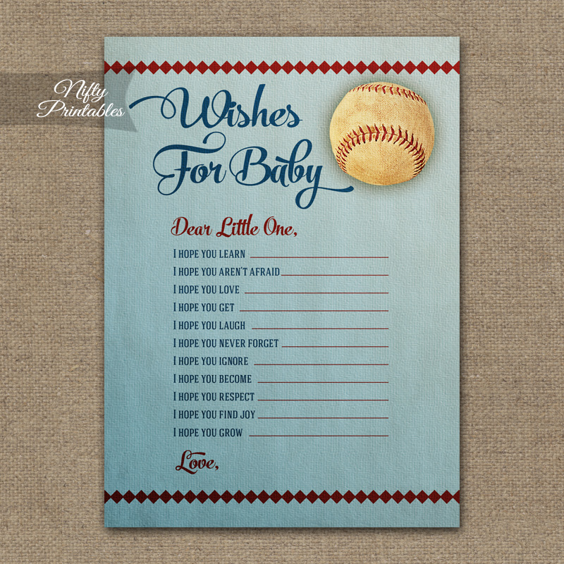 Wishes For Baby Shower Game - Baseball