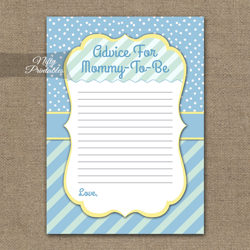 Advice For Mommy Baby Shower Game - Blue Yellow Whimsey