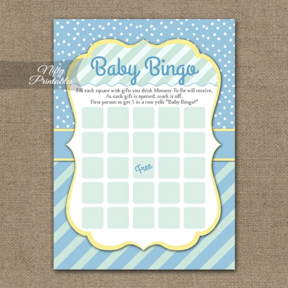 Baby Shower Bingo Game - Blue Yellow Whimsey